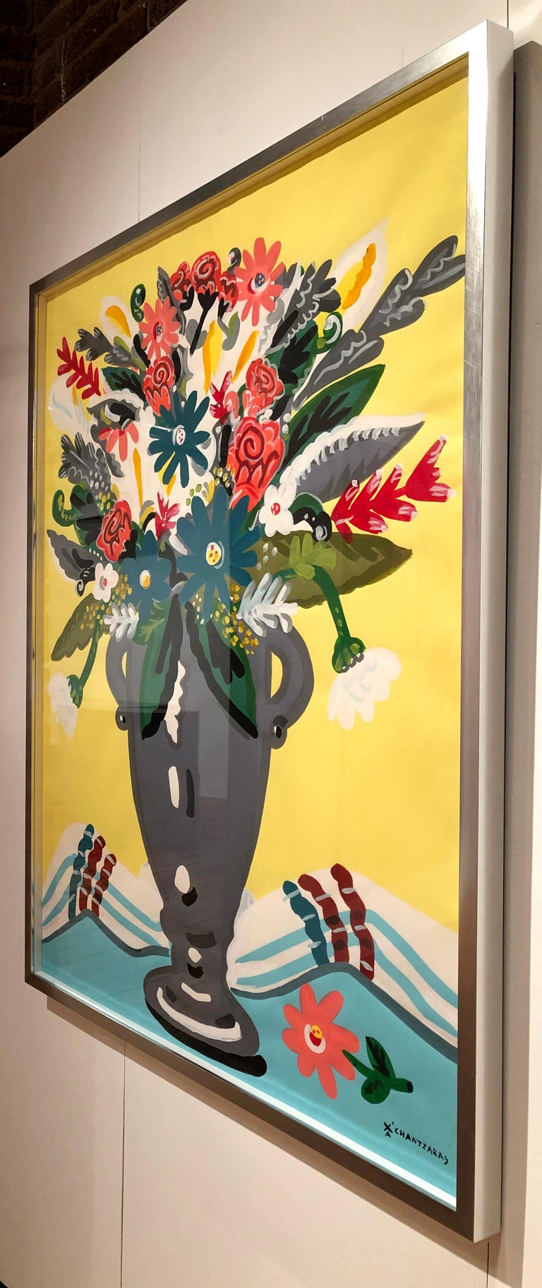 Zest of Spring - Pop art style and classical colorful still-life flower painting For Sale 2