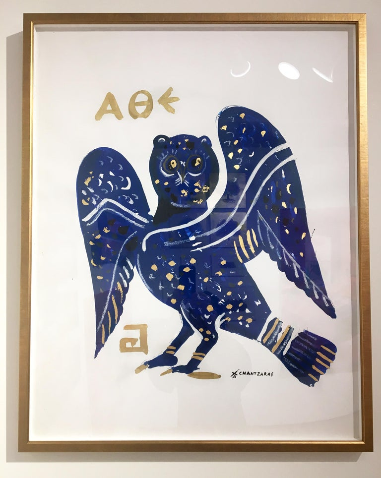 Apostolos Chantzaras Figurative Print - Cleopatra Owl III, oil paint on paper, gold and blue contemporary golden frame