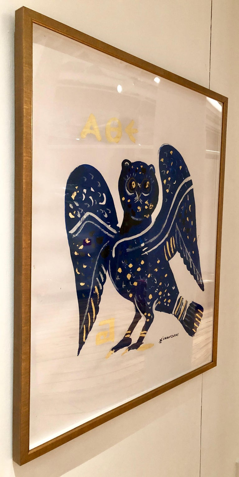 Cleopatra Owl III, oil paint on paper, gold and blue contemporary golden frame - Contemporary Print by Apostolos Chantzaras