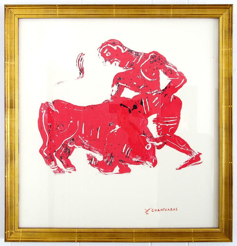 Myth and Games II, red monoprint of ancient Greek figure and bull - Print by Apostolos Chantzaras