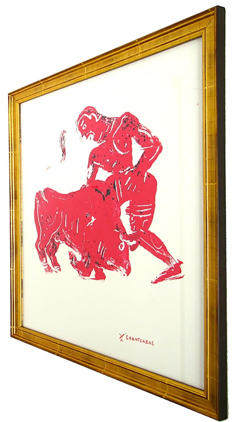 Myth and Games II, red monoprint of ancient Greek figure and bull - Contemporary Print by Apostolos Chantzaras