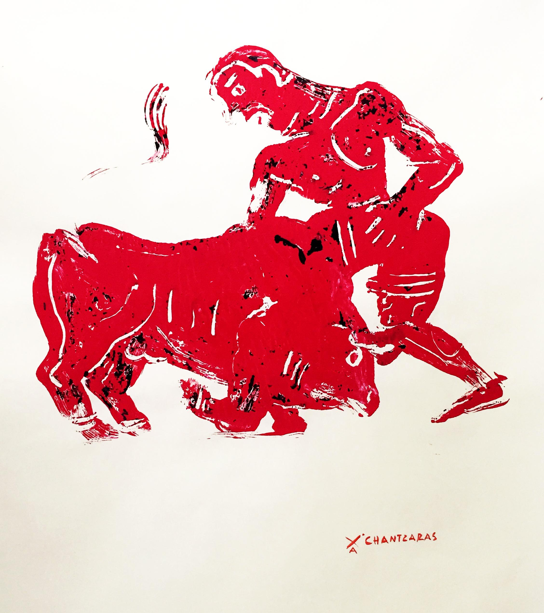 Myth and Games II, red monoprint of ancient Greek figure and bull, gold frame