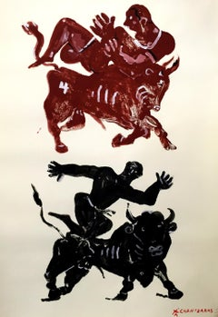 Myth and Games V, brown and black monoprint of figures playing and bulls