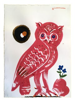 Owl 12 - Red Eirene, oil paint on paper, gold and blue contemporary whimsical