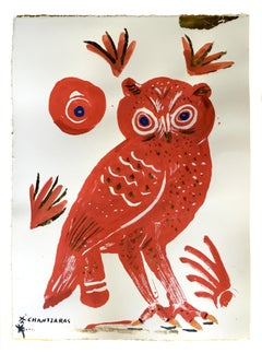 Owl 13 - Red Zoe, oil paint on paper, gold and blue contemporary whimsical Owl