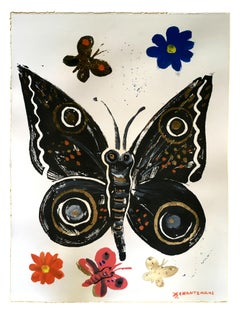 Psychi 8 - The Soul, oil paint on paper, black contemporary whimsical butterfly