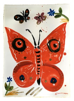 Psychi 9 - The Soul, oil paint on paper, orange contemporary whimsical butterfly