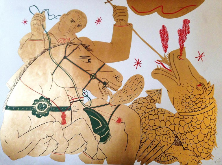 Apostolos Chantzaras Figurative Print - The Rider and the Dragon, Gold Asian inspired mixed media and gold leaf on paper