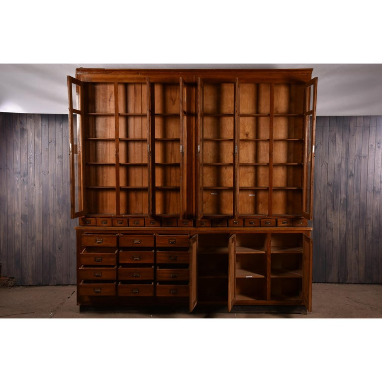 Industrial Apothecary Display Cabinet circa 1930s Number 8 For Sale