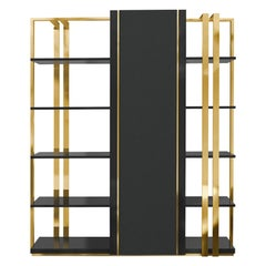 Apotheosis Bookcase in Brass and Wood
