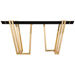 Apotheosis Console Table with Brass Base and Black Marble Top