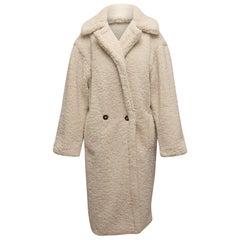 Apparis White Fleece Double-Breasted Long Coat