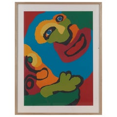 Karel Appel, Faces, Screen Print, Framed