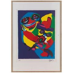 Appel Karel, Screen print 1971 'Masks' Artist Proof, Framed, Signed and Dated