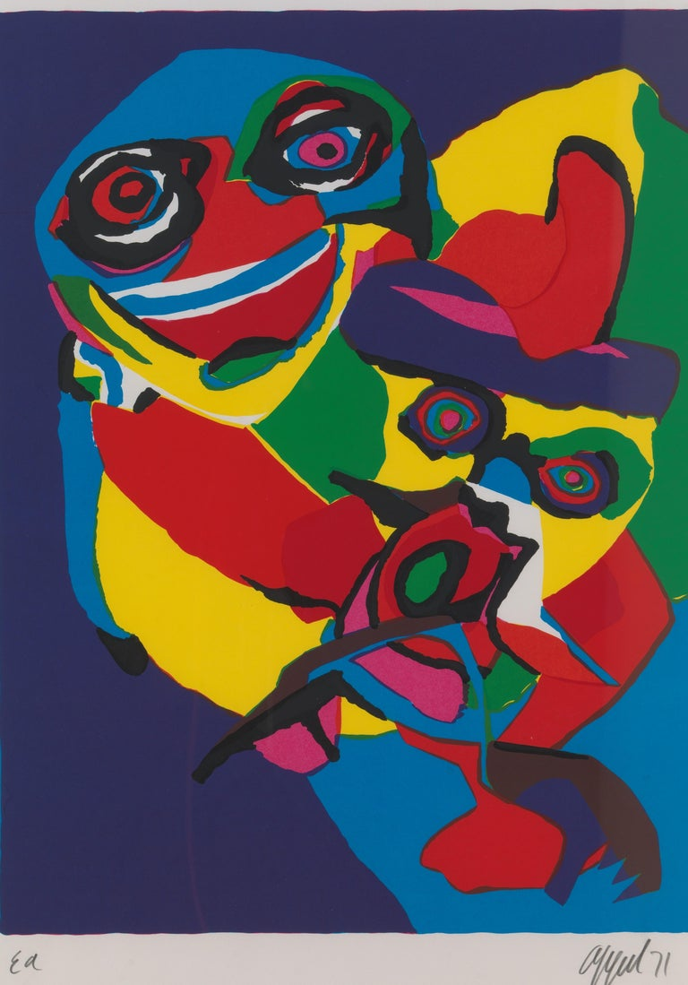 Extraordinary screen print from 1971 by Artist Karel Appel (1921-2006): expressive and bold composition and colors. Pencil signed 'EA' and dated 'Appel 71'. An artist's proof, aside from the edition of 100. Dimensions are 73 cm x 103 cm with frame