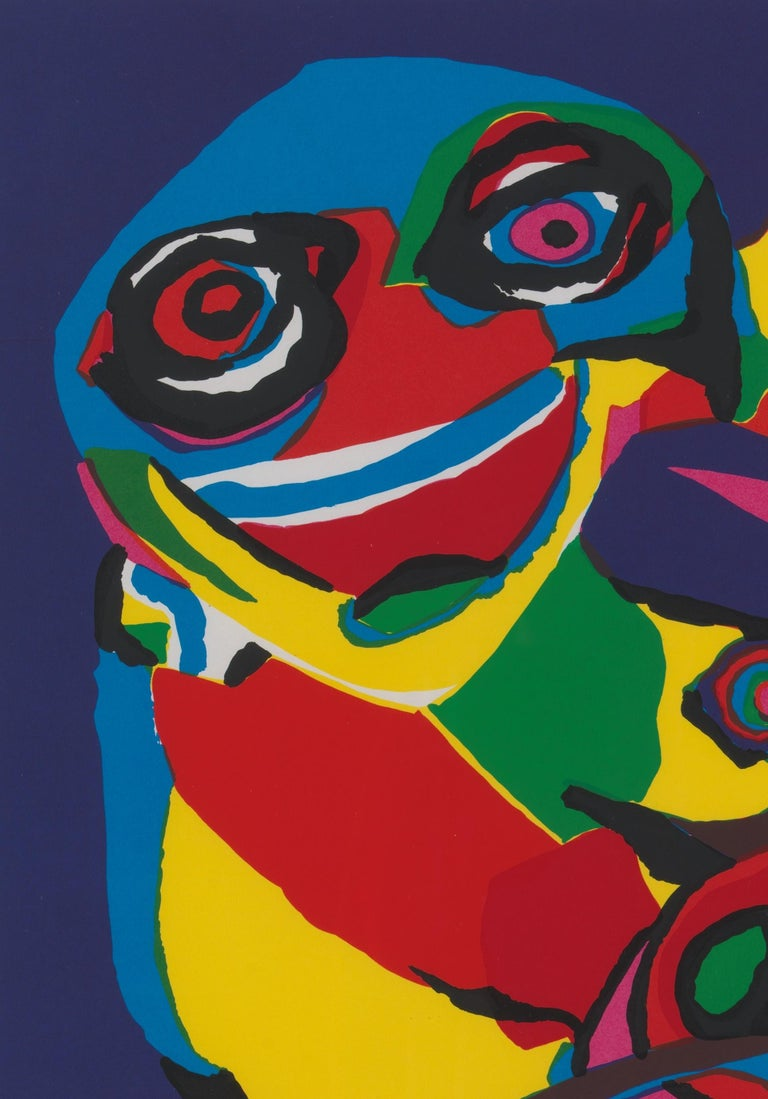 Dutch 20th Century, Appel Karel, Masks-Artist Proof, Lithograph, Framed, Signed/Dated For Sale