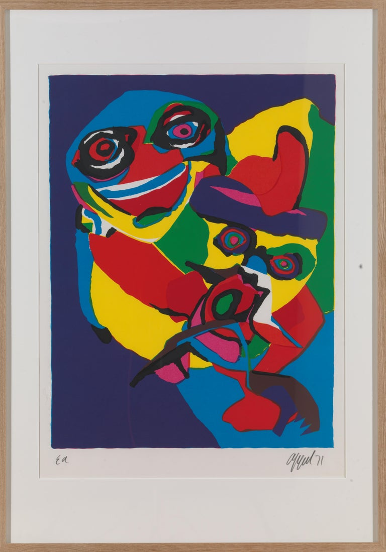 Paper 20th Century, Appel Karel, Masks-Artist Proof, Lithograph, Framed, Signed/Dated For Sale
