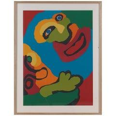 Appel Karel, Screen Print 'Faces' 1974, Framed, Signed by Artist