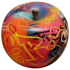 Apple Graffiti B Sculpture in Ceramic