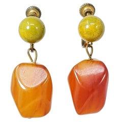 Apple Green and Amber Orange Bakelite Earrings, Vintage Brasstone Screw Back