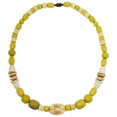 Apple Green and Cream Colored Carved Bakelite Bead Necklace, Brass Tone Clasp