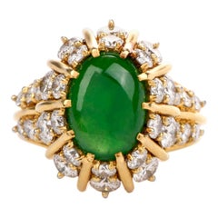Apple Green Jade Diamond 18 Karat Yellow Gold Starburst Ring
