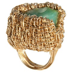 Apple Green Raw Chrysoprase woven Gold Statement Cocktail Ring by Sheila Westera