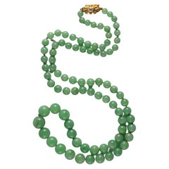 Apple Jade Necklace of Extraordinary Quality Certified Untreated