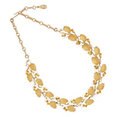Apple Juice Thermoset Leaf and Topaz Baguette Choker Necklace By Lisner, 1960s