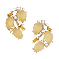 Apple Juice Thermoset Leaf and Topaz Baguette Climber Earrings By Lisner, 1960s
