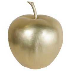 Apple Sculpture, Brass by Robert Kuo, Hand Repousse, Limited Edition