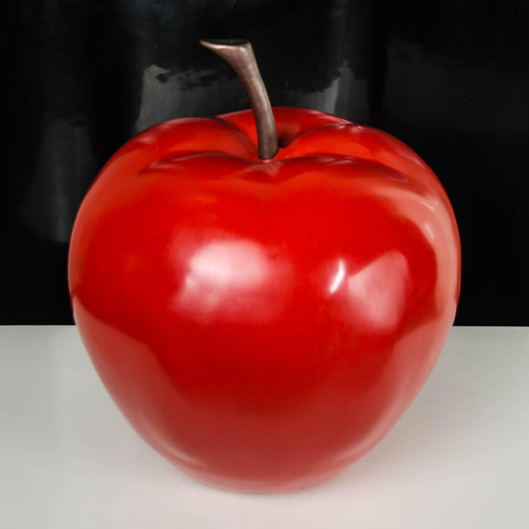Apple Sculpture, Red Lacquer by Robert Kuo, Hand Repoussé, Limited Edition In New Condition For Sale In West Hollywood, CA