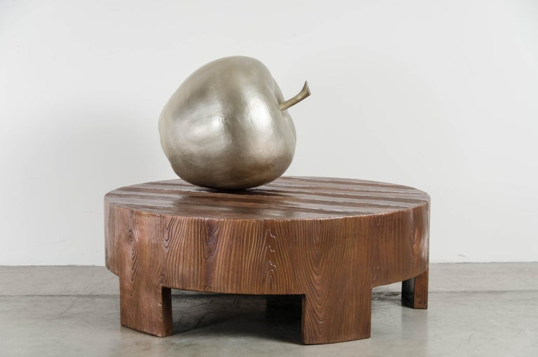Contemporary Apple Sculpture, White Bronze by Robert Kuo, Hand Repousse, Limited Edition For Sale