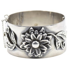 Applied Flower Floral Sterling Silver Bangle Bracelet by Heidi