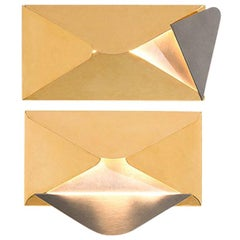 CORRISPONDENZA Wall Lamp in Brushed Steel and Gold-Plated Brass by Dimoremilano