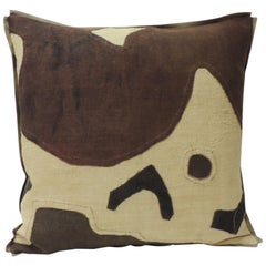 Applique Raffia Brown and Black Kuba Decorative Pillows Matisse Style