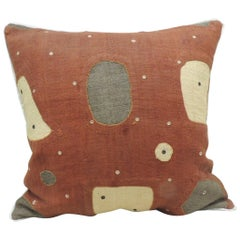 Applique Raffia Brown and Rust Kuba Decorative Pillows Matisse Style