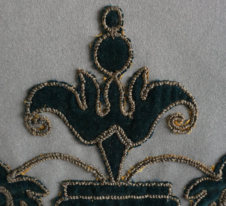 Rococo Appliqué Velvet Pillows with Tassels by Melissa Levinson-a Pair For Sale