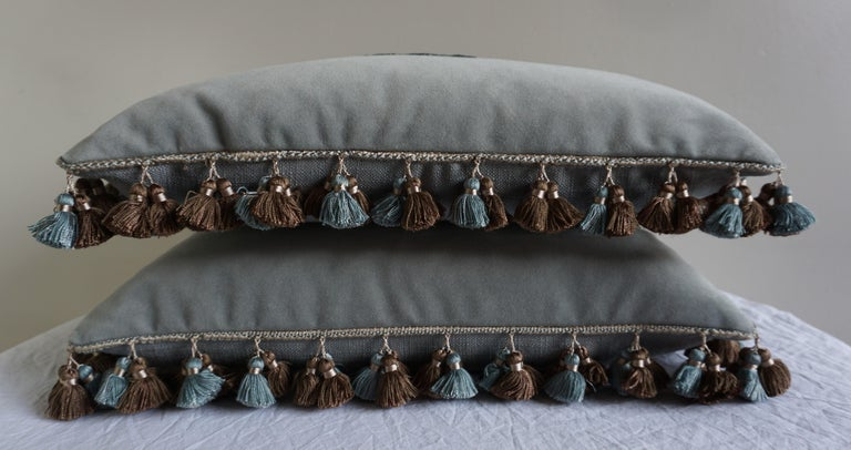 French Appliqué Velvet Pillows with Tassels by Melissa Levinson-a Pair For Sale