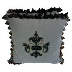 Appliqué Velvet Pillows with Tassels by Melissa Levinson-a Pair