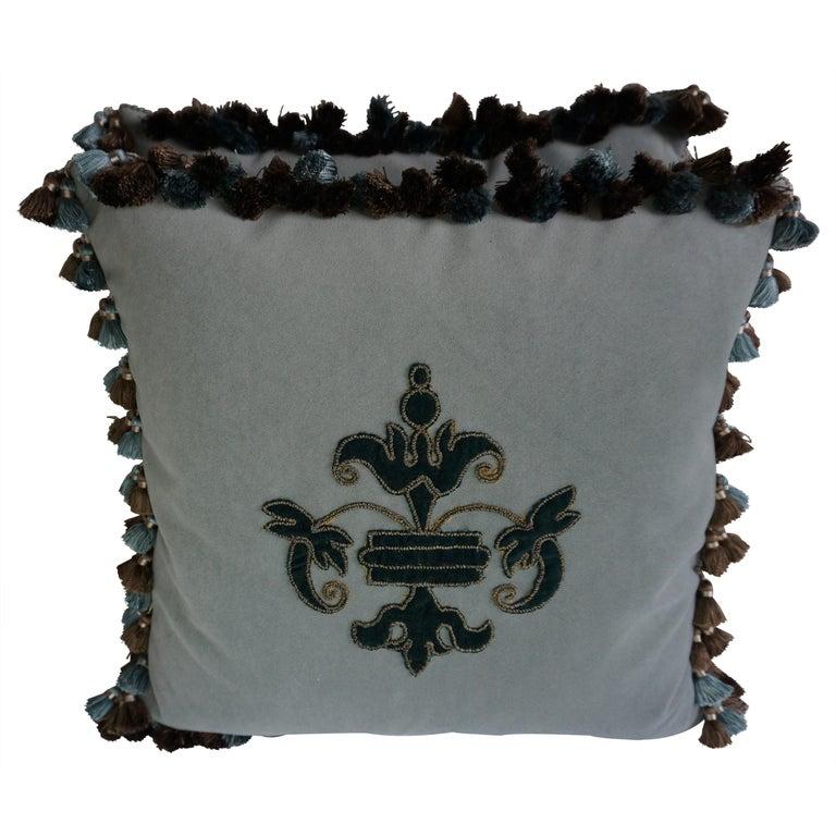 Appliqué Velvet Pillows with Tassels by Melissa Levinson-a Pair For Sale