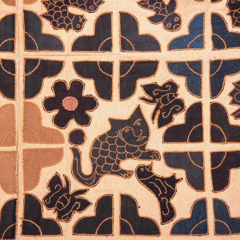 Linen Appliquéd Chinese Minority Textile For Sale