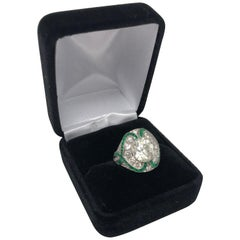 Appraised 3.04 Carat Art Deco Diamond and Emeralds Ring