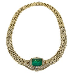 Appraised Columbian 15.80 Carat Emerald Diamond Necklace