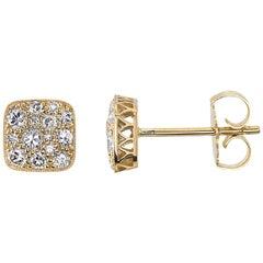 Approx. 0.60 Carat Mixed Cut Diamonds Set in Handcrafted 18 Karat Gold Earrings