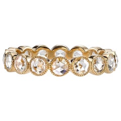 Approx. 1.20ctw Rose Cut Diamonds Set in a Handcrafted Yellow Gold Eternity band
