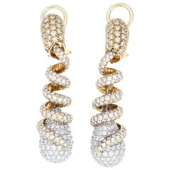 Approximate 6.50 Carat Diamond 18 Karat Yellow and White Gold Drop Earrings