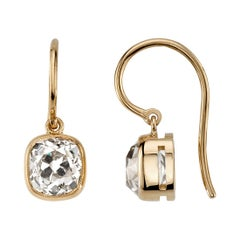 Approximately 4.00 Carat Cushion Cut Diamonds Set in Handcrafted Drop Earrings
