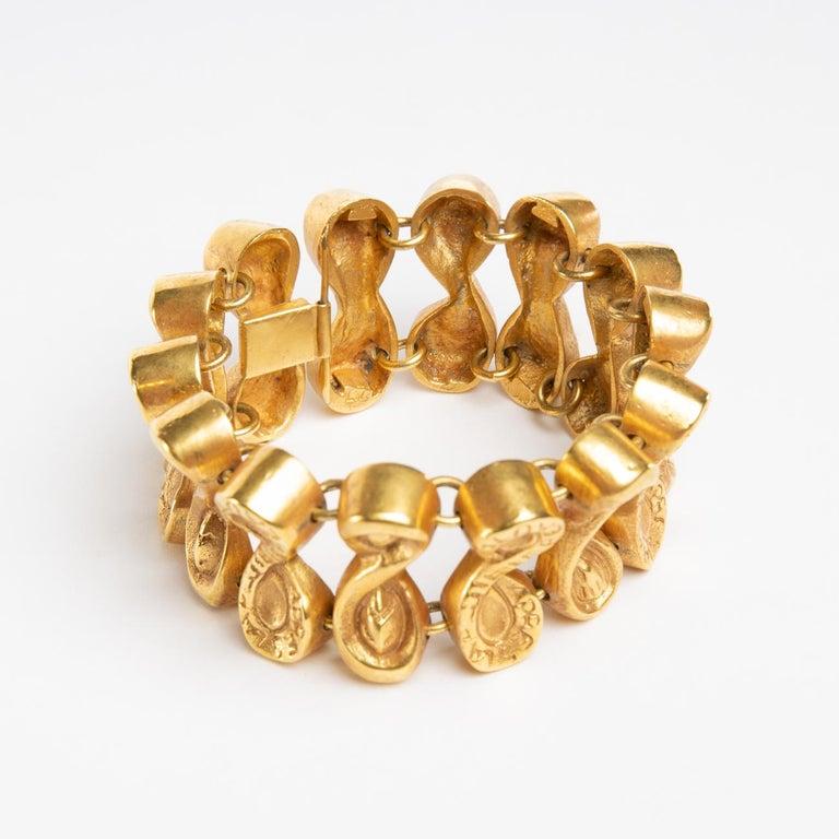 Mid-Century Modern Après Le Pluie Le Beau Temps, Semi-Rigid Bracelet in Gilded Bronze, Line Vautrin For Sale