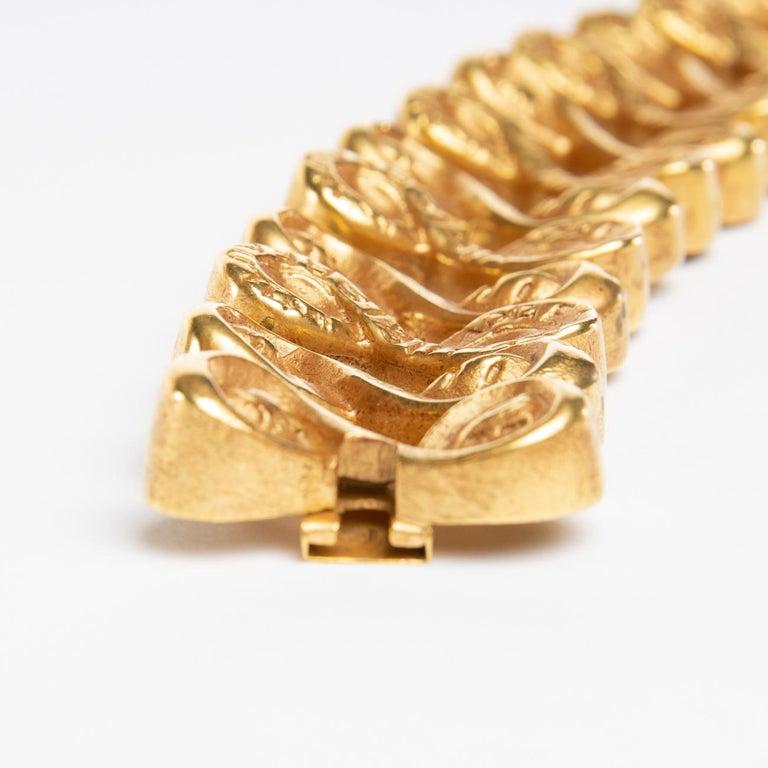 20th Century Après Le Pluie Le Beau Temps, Semi-Rigid Bracelet in Gilded Bronze, Line Vautrin For Sale